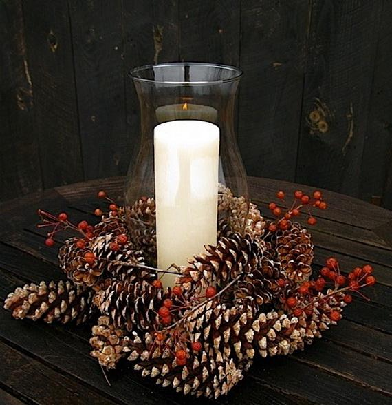 Pine Cones And Candles Arrangement7