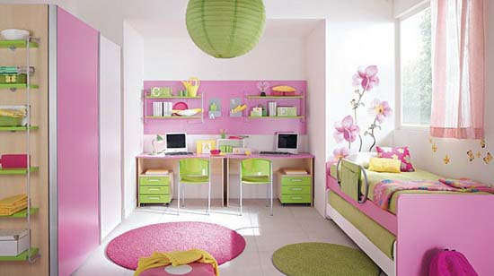 Pink And Green Bedroom For Two S