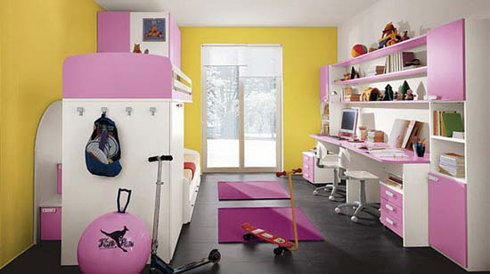 Pink and yellow bedroom for two active girls