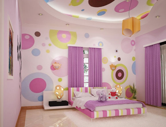 Round polka dot combines with line on the bed