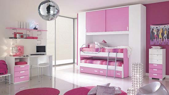 Soft pink coloring bedroom for beauty girls