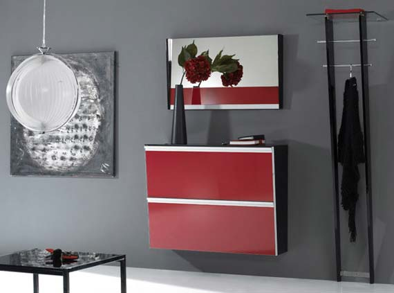 Stylish in red glossy foyer