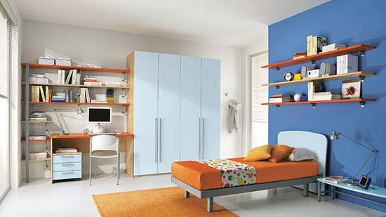 Teen boys bedroom with white and blue walls  Orange Combination Design in  Kids Bedroom. Blue Boys Bedroom