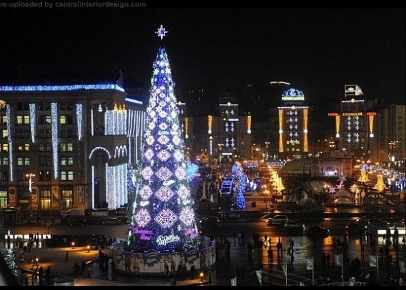 The Independence Square New Year and Christmas tree in Kiev