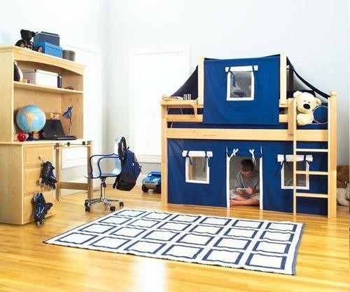 Twin+Low+Loft+Bed+with+Curtain+and+Top+Tent+Bedroom+Set-Bedroom Decorating Ideas for Creative Kids Rooms
