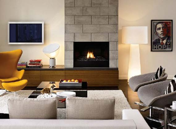 Warm Fireplace with Living Seats Combination Styles