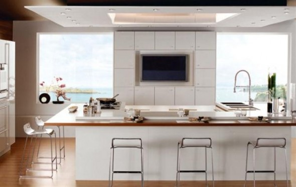 White+wooden+floor+Contemporary+French+Style+Kitchen+Designs