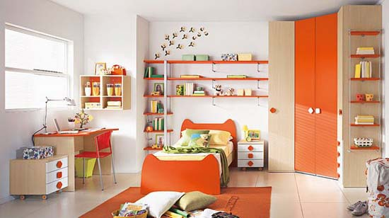 White and orange boys bedroom