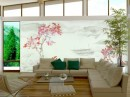 Japanese Living Room Layout pink and white