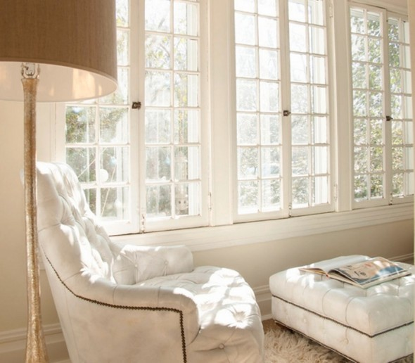 Modern Decorating reading chair windows by Ron Royals Designer Lisa Sherry