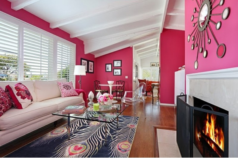 Modern interior Decorating in pink and white