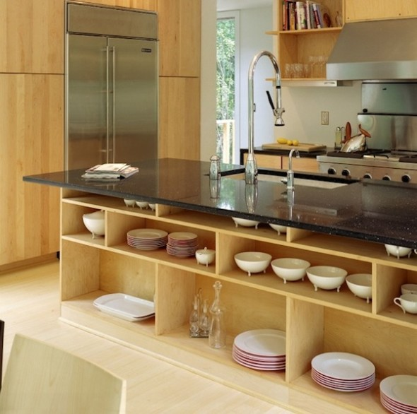 Open shelving and over cabinet display