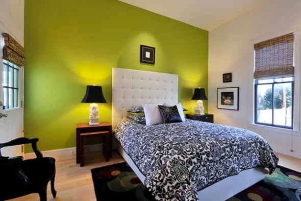 Contemporary bedroom with vibrant green