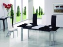 Extendable Table Chair in Black Glass and Pillar Base
