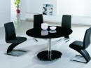 Round Black Glass Dining Table