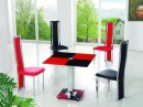 Squares of Red and Black Glass Patterned Table