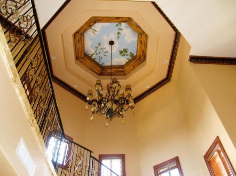 Stair Area Decorated with Ceiling Mural