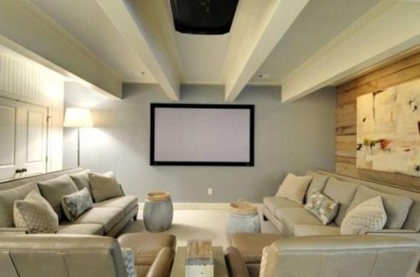 Media Room in Basement-Converting Basement
