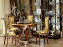Brocade Chairs and Wooden Table