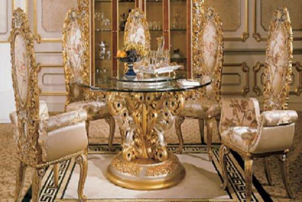 Round Ornamental Glass Topped Table