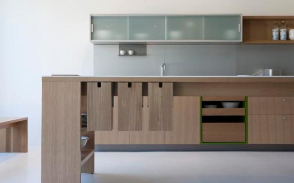 Glass and Wood Kitchen Counters by Viola Park