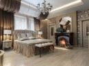 Fireplace Floral Accent Wall Luxury Bedroom