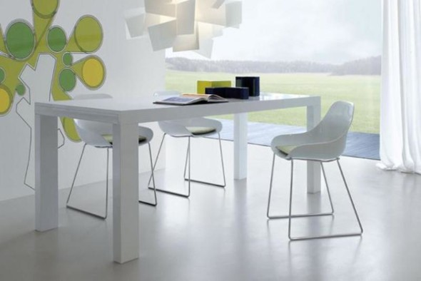 All White Poly Table Chair Set