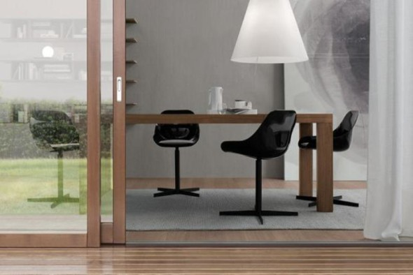 Handsome Wood Table Black Chair Set