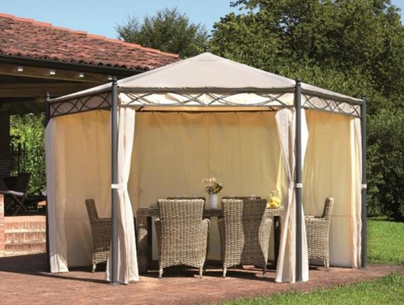 Hexagonal Gazebo with Side Curtains - Outdoor Activities