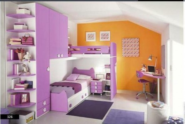 White, Lilac, and Orange Color Scheme - Kids Bedroom
