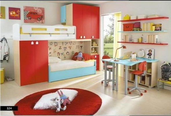 White, Red with Blue Tints - Kids Bedroom
