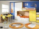 White and Yellow with Blue Backsplash - Kids Bedroom