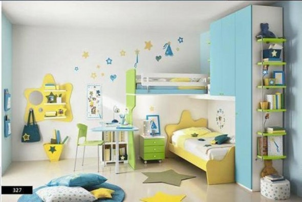Yellow-Green Bed with White Blue Decor - Kids Bedroom