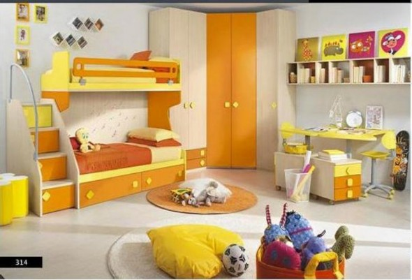 Yellow and Orange with Cream - Kids Bedroom