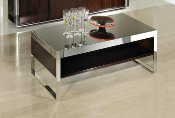 Coffee Table - Elegant Chrome Base and Glass Topped Table