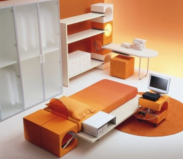 Orange Teenage and Kids Bedroom Di Liddo-Perego