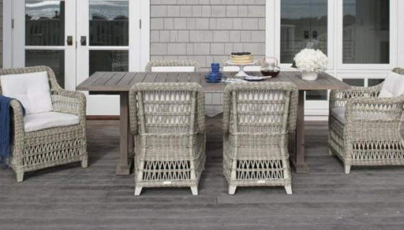 Wicker Sofas and Wooden Table
