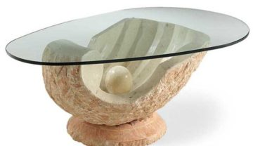 Venere Pale Salmon Fossil Stone & Glass Coffee Table