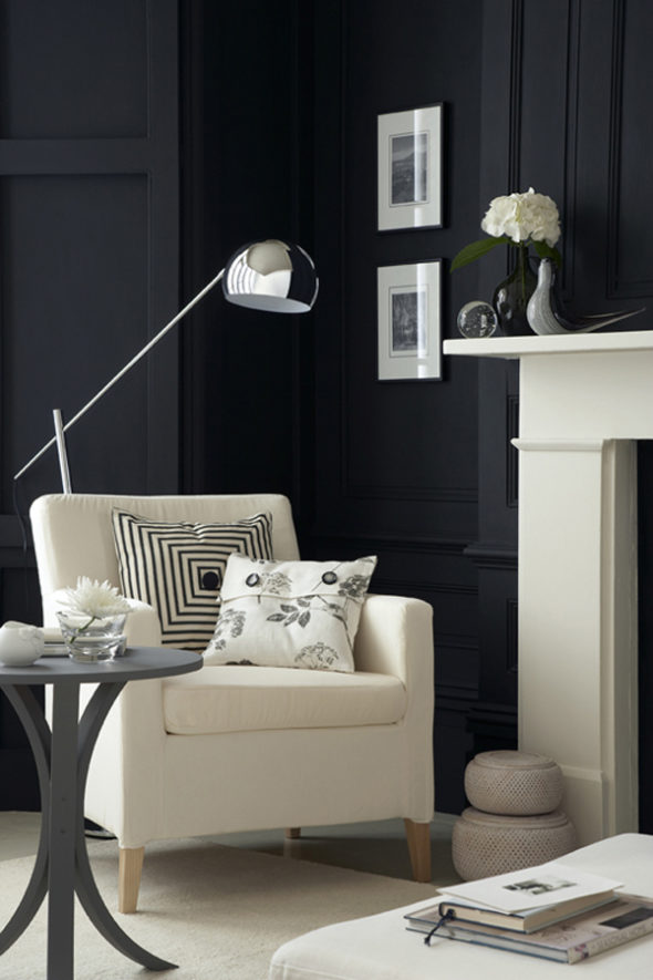 exquisite black wall interiors for a modern home