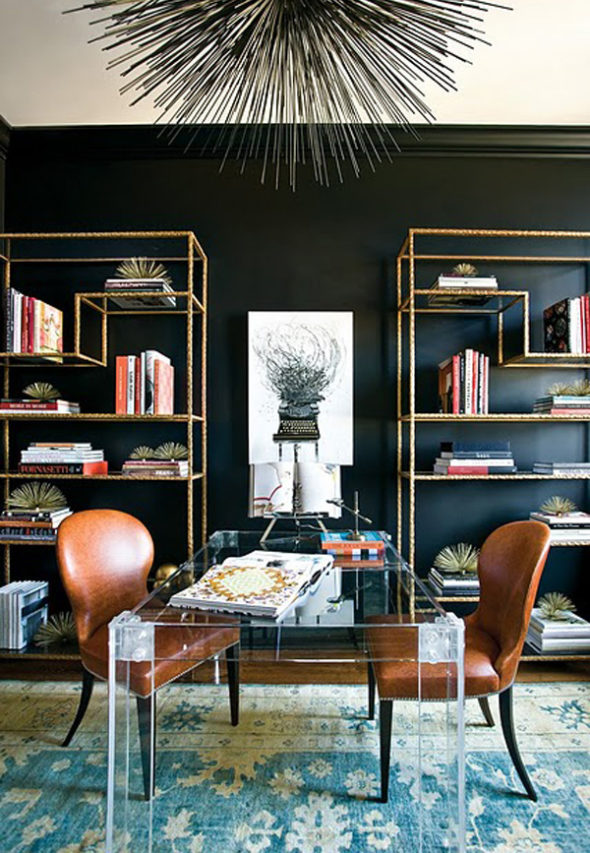 modern black wall interiors home