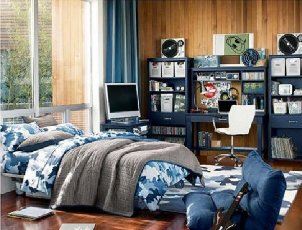 Blue Teenage Boy Bedroom Design