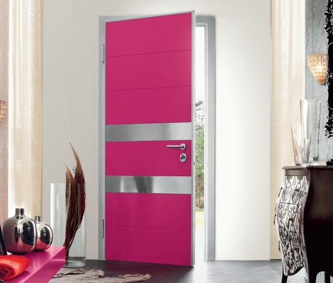 Modern Pink Doors Exterior for Home Designed by Oikos
