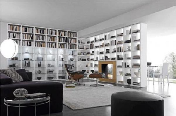 White Living room Bookcase Storage