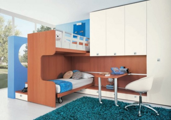 contemporary childrens bedrooms double bed with rug