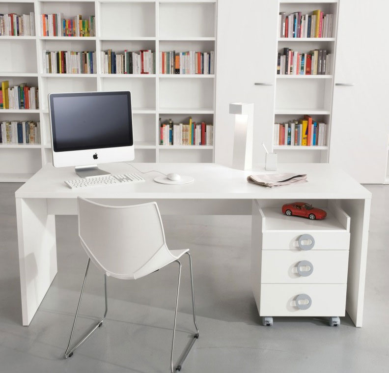 cool white study area design