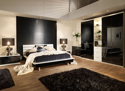 contemporary bedroom furniture with black wardrobe