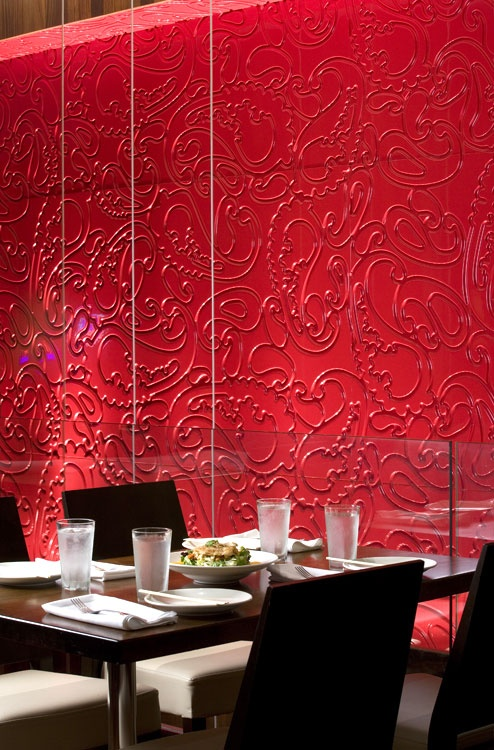 luxurious elegance in red paisle iconic wallpaper for restaurant interior from B & N Interior Design