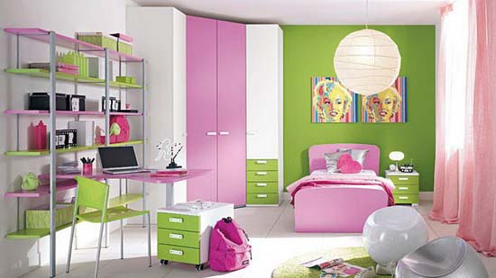 Colorful Pink Bed Design in Girls Bedroom Decorating – Home ...