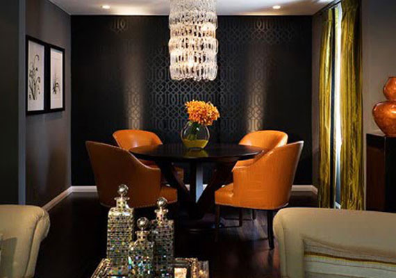 Superb Black Wall With Bright Orange Chairs