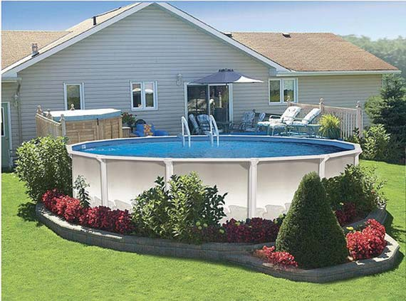 Pool Deck Decorating Ideas cool above ground pool ideas back to post above ground pool deck decorating ideas Large Round Pool Deck In Patio